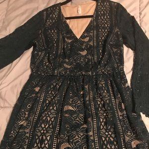 A sheer sleeve lace dress. Knee length lace dress!